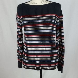 Ann Taylor Ribbed Multicolor Sweater - XL